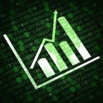 Business graph and chart with arrow going up - green background